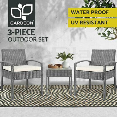 AU169.90 • Buy Gardeon 3 Piece Wicker Outdoor Lounge Setting Patio Furniture Rattan Set Garden