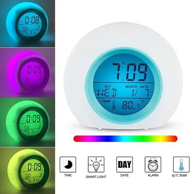 AU15.69 • Buy AU Digital Alarm Clock 7 Colors Changing Light Night LED Glowing Bedroom Gift