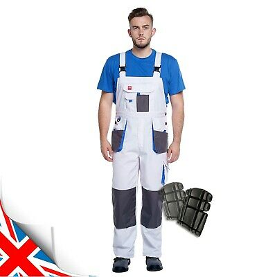 £18.59 • Buy WHITE-BLUE Bib And Brace Men WORK TROUSERS Overalls Dungarees White For Painting