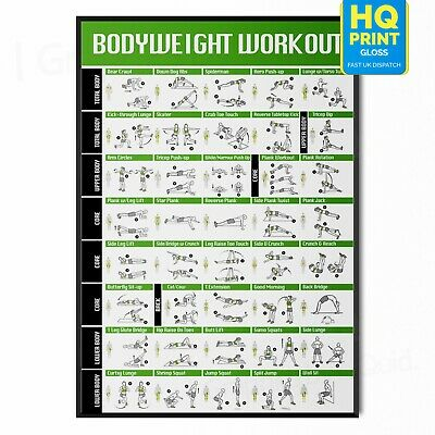 £2.99 • Buy Full BodyWeight Workout No Equipment Gym Fitness Training POSTER PRINT LAMINATED