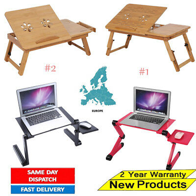Adjustable Portable Folding Laptop Desk Computer Table Stand Tray For Bed Sofa • 15£