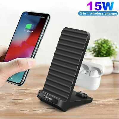 AU19.59 • Buy AU 2in1 15W Qi Fast Wireless Charger Dock Stand For Airpods IPhone 12 Pro 11 XS