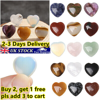 Heart Shape Natural Quartz Chakra Healing Stone Minerals Crystal Gemstones UK~ • 2.58£