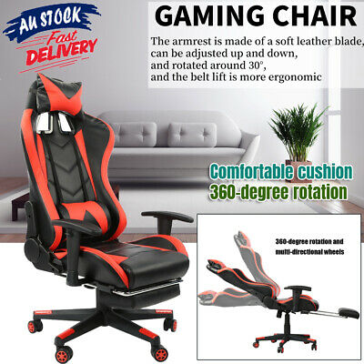 AU185.99 • Buy Gaming Chair Office Computer Seating Racing PU  Racer W/Footrest 200KG