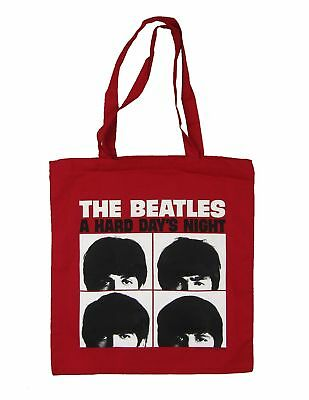 £10.90 • Buy Beatles A Hard Day's Night Album Cover Red Tote Bag Fab Four NEW. OFFICIAL