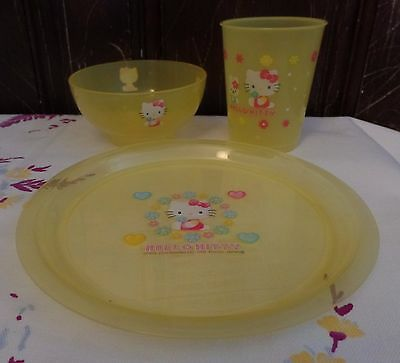 Hello Kitty Plastic Plate, Bowl And Glass YELLOW Flowers & Heart Made In Japan • 8.58£