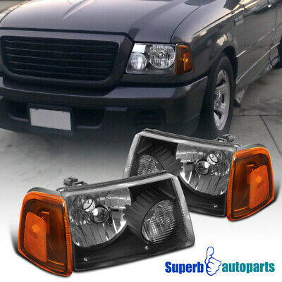 $67.98 • Buy For 2001-2011 Ford Ranger Black Head Lights+Corner+Bumper Signal Lamps Black