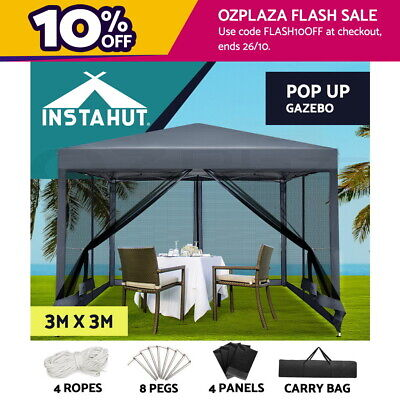 AU139.90 • Buy Instahut Gazebo Pop Up Marquee 3x3 Wedding Mesh Side Walls Outdoor Gazebos Grey