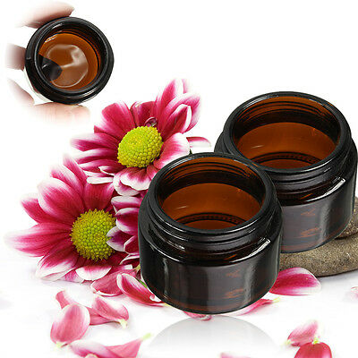 30ml Amber Glass Jar Bottles Cream Ointment Black Lid Cosmetics Candles   J ≈ • 11.14£
