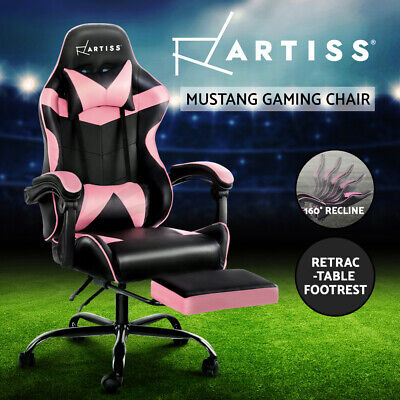 AU154.95 • Buy Artiss Gaming Office Chair Computer Chair Home Recliner Footrest Black Pink