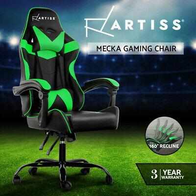 AU157.95 • Buy Artiss Gaming Office Chair Computer Chairs PU Seat Racing Recliner Black  Green
