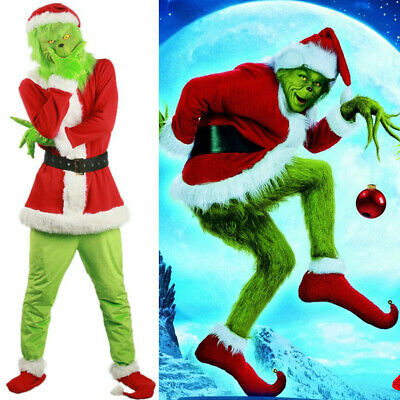 Christmas Grinch Green Monster Cosplay Costume For Adult 7Pcs Fancy Santa Outfit • 28.99£