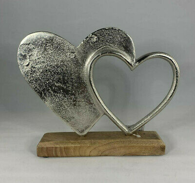 Double Silver Hearts Ornament On A Wooden Base Shabby Chic Home Decor • 11.95£