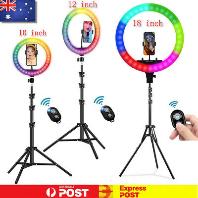 AU47.29 • Buy Ring Lights LED RGB Dimmable Phone Selfie Tripod Studio Makeup Live Circle Lamp