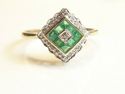 AU420.09 • Buy 9k Solid Gold Art Deco Style Emerald & Real Diamond Ring