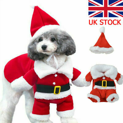 UK Pet Dog Cat Christmas Costume Santa Claus Cosplay Fancy Dress Clothes Outfits • 5.99£