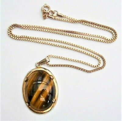 £6.50 • Buy C336) Vintage Gold Tone Oval Tigers Eye Stone Gemstone Pendant Chain Necklace