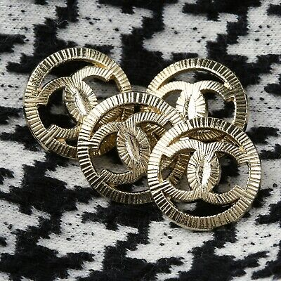 Chanel Buttons 4pc CC Gold 19 Mm Vintage Style Unstamped 4 Buttons AUTH!!! • 29.97£