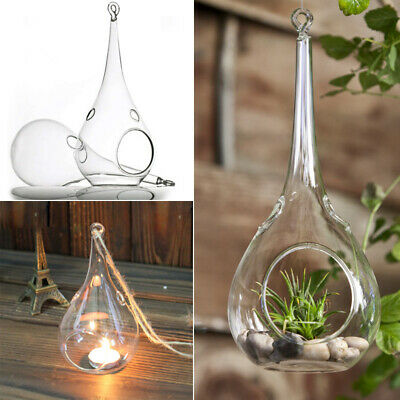 Hanging Tealight Candle Holders Clear Glass Tea Light Bauble Wedding Party-Decor • 9.95£