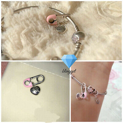 AU16.58 • Buy 925 Sterling Silver, Pink I Love My Family Charm, Me Safety Pin Brooch, Blingget