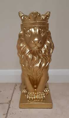 Gold Lion Statue, Stunning King Lion Sculpture Solid Cast Stone Finished In Gold • 30£