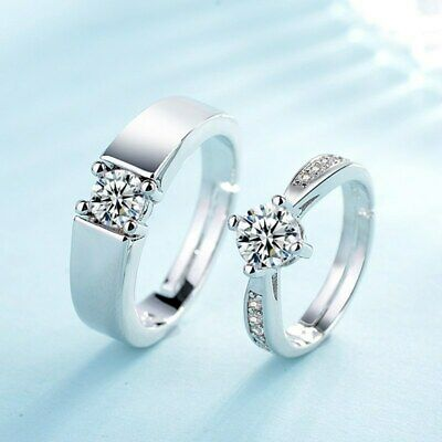 £2.79 • Buy 925 Silver Plated Diamond Couple Rings Crystal Engagement Gift Set UK