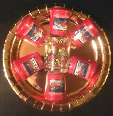 Yankee Candle 6 Christmas Eve Votive Samplers, 1 Pretty Bow Glass Holder Retired • 8£