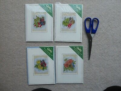 REDUCED  -  4 New Cash's Woven Butterfly Greeting Cards, Unused   • 14£