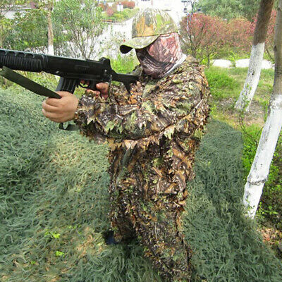 Fashion 3D Camouflage Leaf Clothing Woodland Jungle Hunting Camo Sniper Suit WS • 18.91£