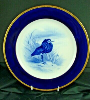 Beautiful Minton Cobalt / Gold Cabinet Plate With Blue Painted Bird  • 49£