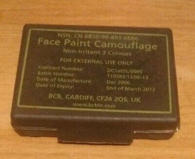British Army Issued Face Paint Camouflage 3 Colours Original Case Complete Used  • 4£