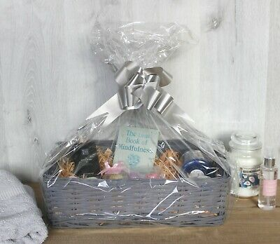 Deluxe Wicker Hamper Basket Grey Make Your Own Christmas Gift Large Storage Bow • 16.99£