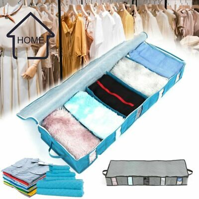 5 Compartments Under Bed Storage Bag Large Capacity Clothes Shoes Organizer Box • 6.49£