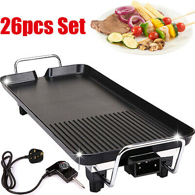 Table Top Electric Barbecue Grill Smokeless Non Stick Cooking Flat Plate 1400W • 27.95£