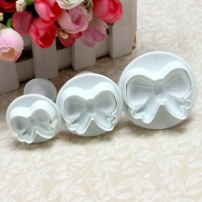 3pcs Bow Knot Plunger Sugarcraft Cake Cookie Cutter Decorating Icing Cutter UK • 4.67£