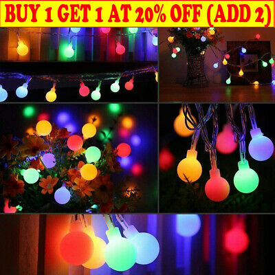 Battery Powered LED Globe Bulb Ball Fairy String Lights Outdoor Party Waterproof • 12.05£