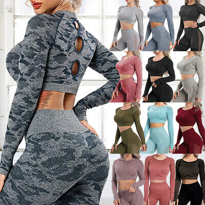Womens Seamless Yoga Crop Top Sports Bra Gym Leggings Pants Workout Fitness Suit • 9.68£