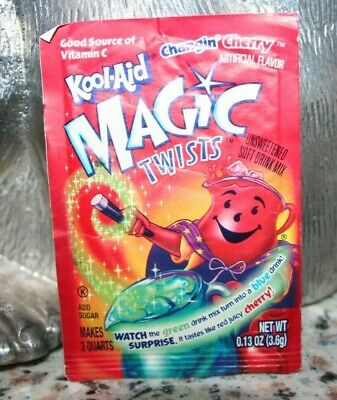 Vtg Kool-Aid Packet MAGIC TWISTS CHANGIN CHERRY   Rare Unopened Drink Mix • 4.25£