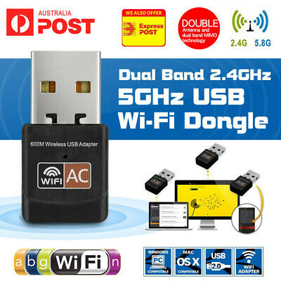 AU8.85 • Buy 600Mbps Dual Band USB WiFi Wireless Dongle AC600 Lan Network Adapter 5GHz 2.4GHz
