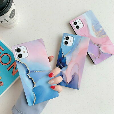 AU9.99 • Buy Square Marble Silicone Soft Phone Case Cover IPhone 12 Pro Max 12 Mini 11 XS 8 7