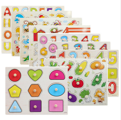 £3.25 • Buy New Baby Toddler Jigsaw Kids Puzzle Alphabet Letters Animal Wooden Learning Toys