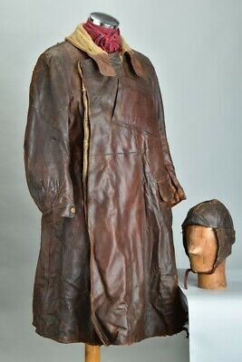 Royal Flying Corps Pilot's WW1 Map, Well Weathered Leather Coat & Helmet. ZTCE • 301.60£