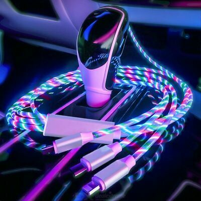 3 In 1 LED Flowing Light Up Charge Cable For IPhone / Samsung / Type C / Android • 3.98£