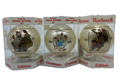 $ CDN17.01 • Buy Norman Rockwell Christmas Ornaments 91, 93 & 94 By Dave Grossman Limited Edition