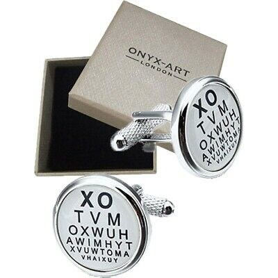 Opticians Eye Test Cufflinks - Onyx Art - Gift Boxed - Optical Optometrist Chart • 10.99£
