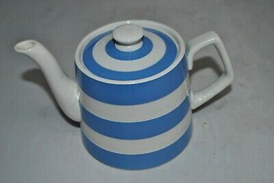 TG Green Blue & White Cornishware - Ceramic Teapot With Green Shield • 10£