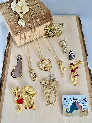 $ CDN21.60 • Buy Vintage Estate CAT THEMED Jewelry Lot 12Pc Some Signed Danecraft Mamselle Avon