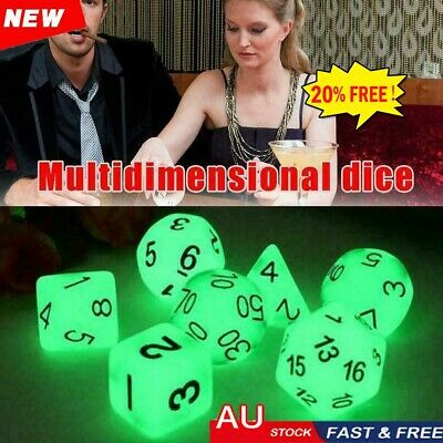 AU10.21 • Buy 7Pcs Luminous Polyhedral Dice Set For TRPG MTG Dungeons&Dragons DND Game 10mm