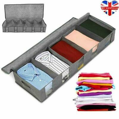 Large Capacity Under Bed Storage Bag Box 5 Compartments Clothes Shoes Organizer! • 5.99£
