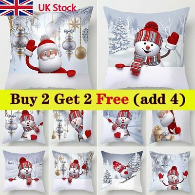 18  Christmas Cushion Cover Snowman Pillow Case Sofa Throw Xmas Home Decorations • 4.18£
